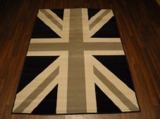 Modern Approx 6x4 120x170cm Woven Backed Union Jack Black/Grey Quality rugs New